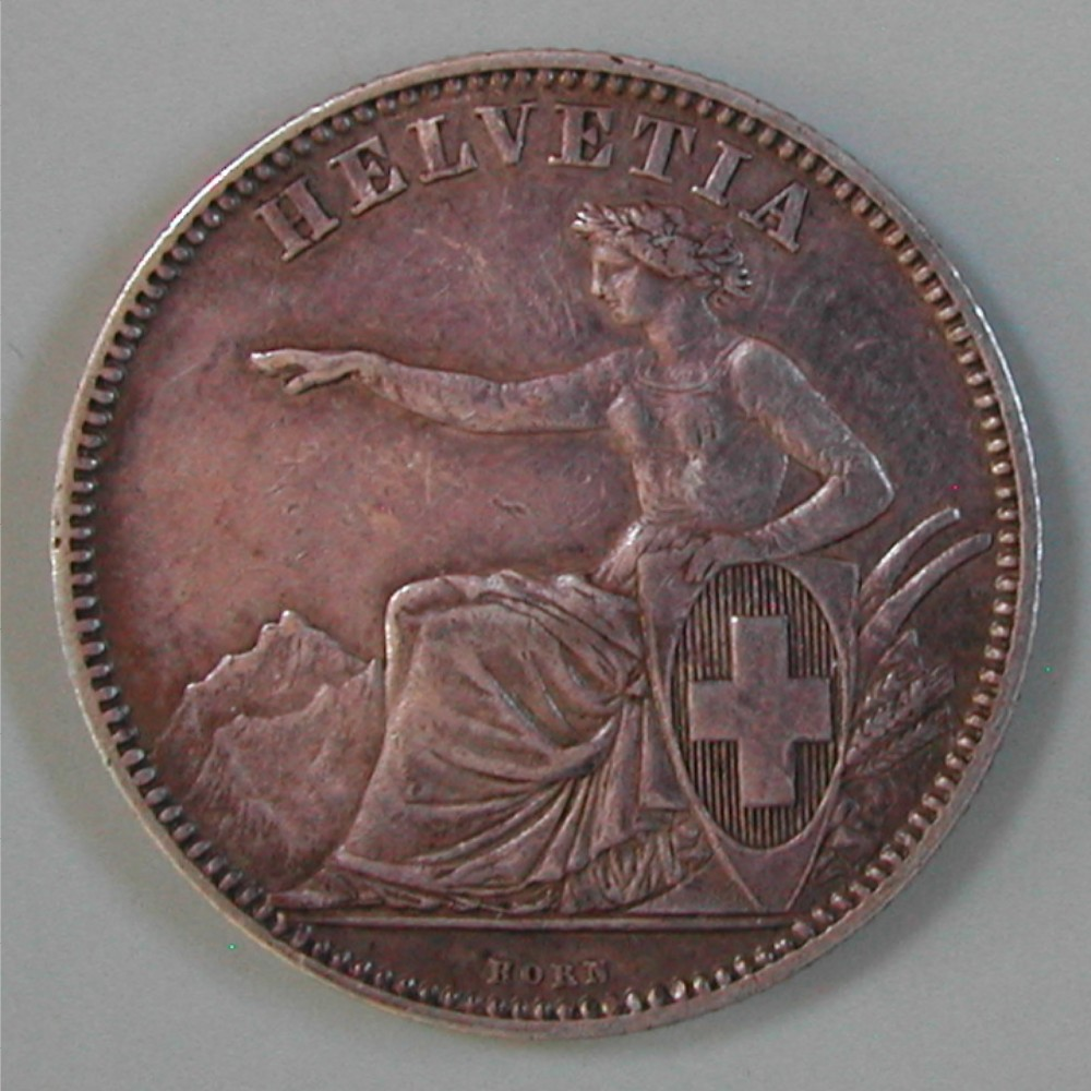 CH, 2 FRANKEN 1862 B (BERN), SILBER, Ss